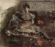 Mikhail Vrubel Arter the concert:nadezhda zabela-Vrubel by the fireplace wearing a dress designed by the artist oil painting picture wholesale